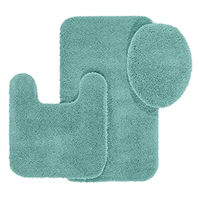 Bathroom Rugs Set, Maples Rugs [Made in USA][Cloud Bath] 3 Piece Non Slip Bath Rug and Mats Sets for Kitchen, Shower, and Toilet