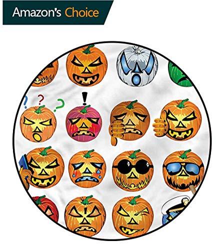 RUGSMAT Halloween Round Area Rug,Pumpkin Emoji Carpet Door Pad for Bedroom/Living Room/Balcony/Kitchen Mat Diameter-24