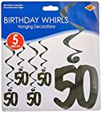 "Beistle 57596-50 ""50"" Whirls Party Decor, 3-Feet, 5-Pack"