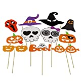 Rrunzfon 66Pcs- Halloween Props Pictures Funny Trick Or Treat Props Chic Christmas Graduation Party Mask DIY Photo Props Glasses Pumpkin Hat for Adults