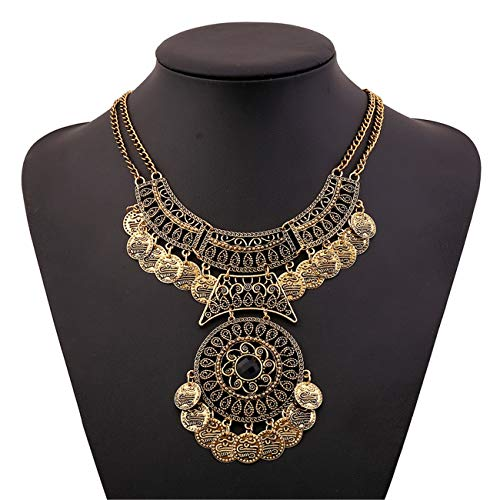 Lanue Thkmeet Ethnic Boho Gypsy Antique Bib Chunky Tassel Collar Choker Festival Coin Necklace (Gold)