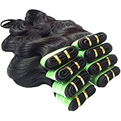 "King Love Star Brazilian Virgin Hair Body Wave 6 Bundles 18"" 20"" 22"" 24"" 26"" 28"" a lot 300g 4A Virgin Unprocessed Human Hair 100% Virgin Brazillian Hair Extensions (18"" 20"" 22"" 24"" 26"" 28"", black)"
