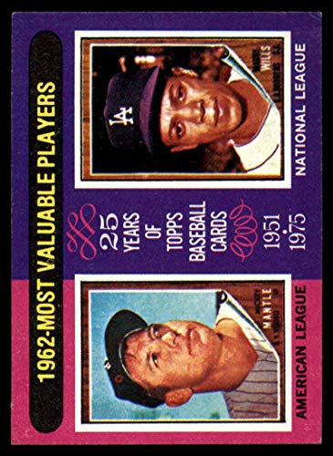 Baseball MLB 1975 Topps Mini #200 1962 's Mickey Mantle/Maury Wills MVP VG Very Good