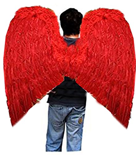 Super XXL RED Halloween Costume Feather Angel Wings Men Women