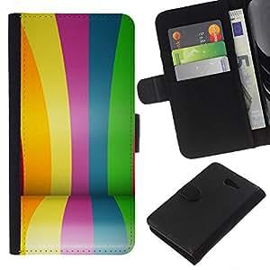 KLONGSHOP // Tirón de la caja Cartera de cuero con ranuras para tarjetas - Recubiertos Líneas coloridas rayas Feria - Sony Xperia M2 //