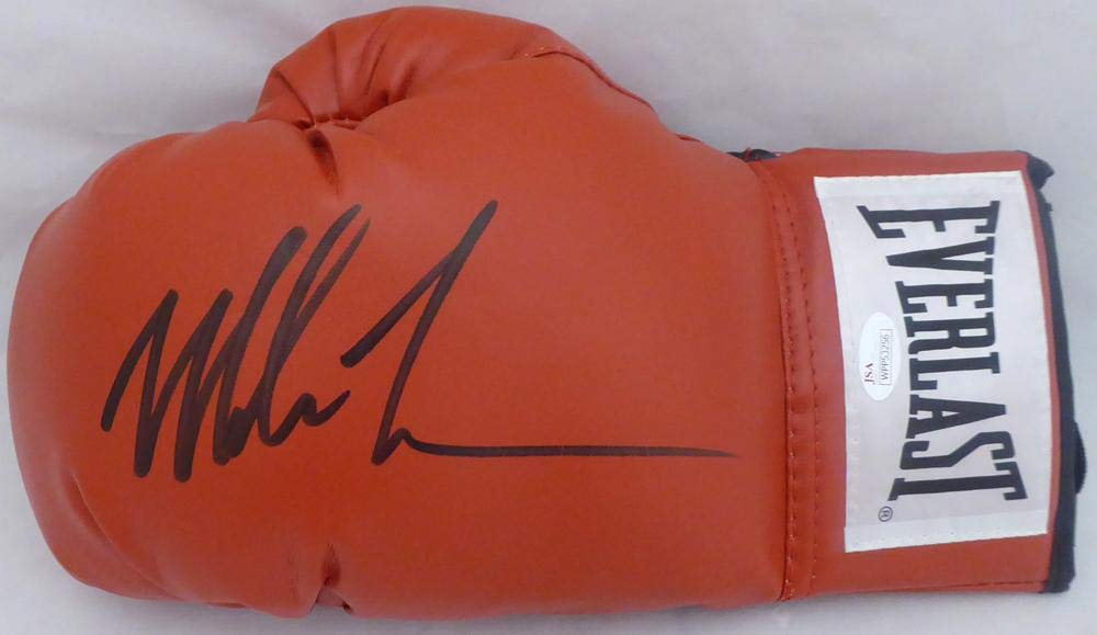 Mike Tyson Autographed Red Everlast Boxing Glove LH Signed In Black Stock #140641 JSA Certified Autographed Boxing Gloves