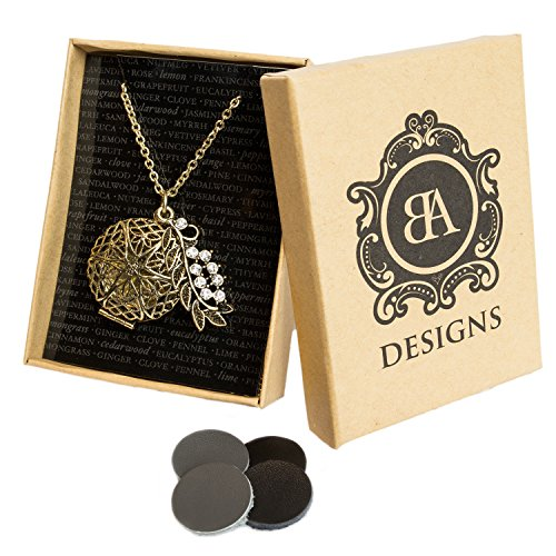 BA Designs Oil Diffuser Necklace with 4 Leather Discs 30 Chain with (Leaf Design Diamond)