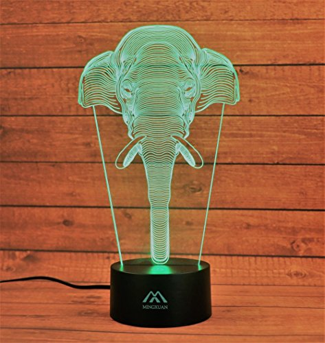 Elephant 3D Night Light 7 Color LED Touch Table Desk Lamps Energy saving Lights Fashion Creative Home Decoration Gift…