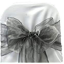 VDS Set of 250 Elegant Organza Wedding Chair Sashes / Bows for wedding Party Banquet Decor - Ribbon Tie Back Sash bow – Silver gray