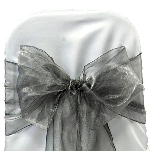 MDS Set of 50 Organza Chair Sashes / Bows sash for Wedding or Events Banquet Decor Chair bow sash -silver gray