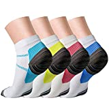 Compression Socks (4 Pairs) for Women and Men Sport Plantar Fasciitis Arch Support Low Cut Running Gym Compression Foot Socks/Foot Sleeves Best for Sports (Large/X-Large)