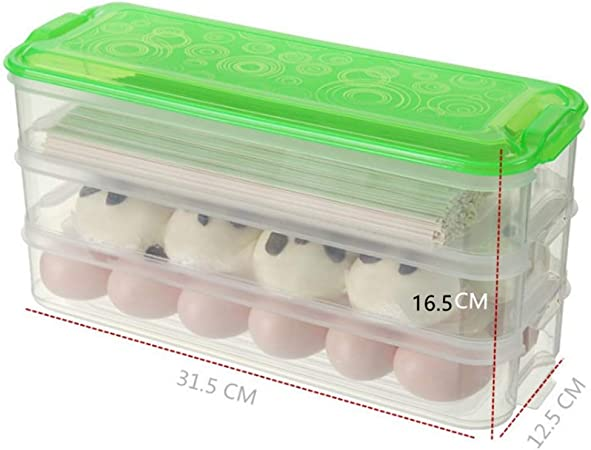 Rory De Plástico Caja De Almacenamiento Frigorífico, Apilable Cocina Copa Gabinete Organizador del Envase con Tapa para Frutas Verduras 3 Capas 5.8L,C: Amazon.es: Hogar