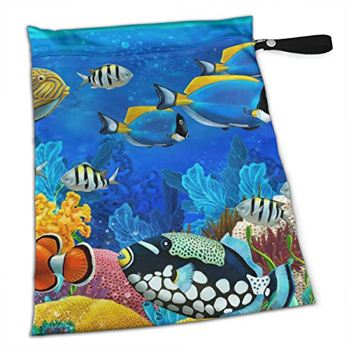 - Pummbaby Sea Turtle and Fish Sea Life Workout Laundry Reusable Wet Dry Separation Travel Beach Gym Tote Bags Dirty Clothes and Wet Wipe Holder for Diaper Packing Bag Pads Hanging Set