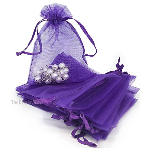 (The Display Guys 100-pc 2x3 Purple Sheer Organza Gift Bag with Drawstring, Jewelry Candy Treat Wedding Party Favors Mesh Pouch)