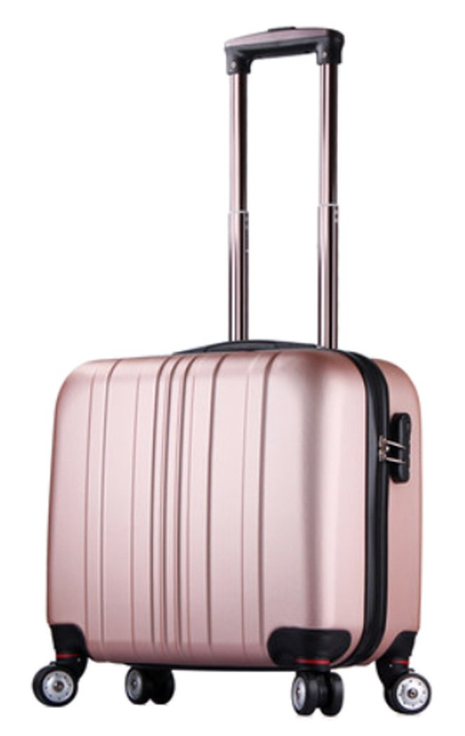 Womens ABS Waterproof Small Suitcase 16 Inch Spinner On-board Luggage - 16 Inch Rose Gold