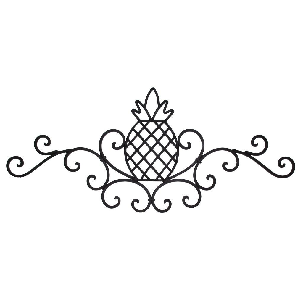 Decorative Metal Wall Art Sculpture, Rustic Scrolled Wrought Iron Pineapple Plaque, Welcome Friendship Home Decor Sign