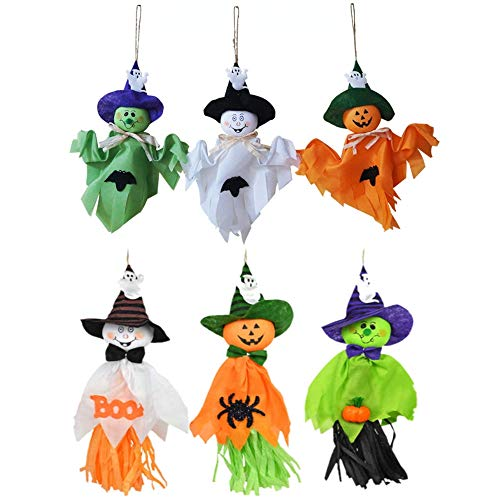 6 Pieces Halloween Decoration Hanging Ghost, Pumpkin Ghost Straw Windsock Pendant for Patio Lawn Garden Party and Holiday Decorations -