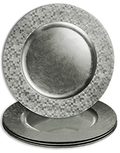 Elegant Dinnerware Charger Plates Choose Gold or Silver Accent Plate for Holidays (8, Silver)