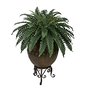 House of Silk Flowers Artificial Fern in Designer Pot with Stand 118