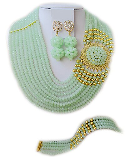 Everyday Bridal Jewelry (Nigerian Wedding African Beads Mint Green And gold Bridal Jewelry)