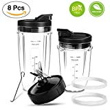 7 cup blenders - Ninja Blender Replacement Parts-Premium Ninja Blender Parts Bottom Blade 7 Fins & Cups & Spout Lids and Gaskets Rubber for Nutri Ninja Auto iQ Fit Nutri Ninja kitchen System Nutrient & Vitamin Extraction