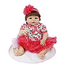 Soft Alive Baby Girl Dolls 23 Inch 57cm Full Body Silicone Vinyl Newborn Realistic Babies Toy With Rose Dress Kids Play Dolls Birthday Christmas Holiday Wedding Gift Reduce Anxiety Help Autism Pregnant Women