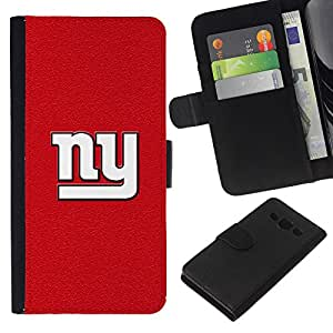 Nueva York Red - la tarjeta de Crédito Slots PU Funda de cuero Monedero caso cubierta de piel Para Samsung Galaxy A3
