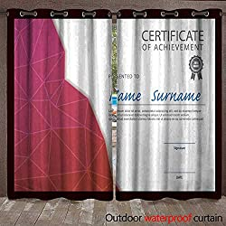 BlountDecor Outdoor Waterproof Curtain Modern Certificate Template Diploma Layout Waterproof CurtainW120 x L108