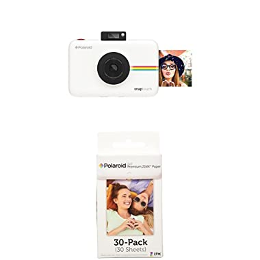 Polaroid Snap Touch Instant Print Digital Camera With LCD Display (White) w/ Polaroid 2x3-Inch Premium ZINK Photo Paper (30 Pack)