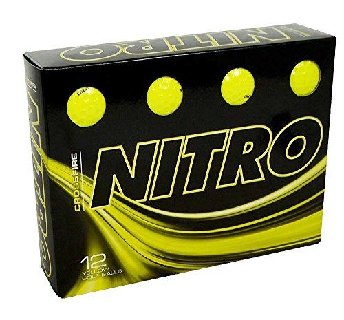 Nitro Unisex Crossfire 12 Box Golf Balls, Yellow, One Size