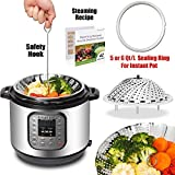 UPGRADED VERSION - Premium Vegetable Steamer Basket - Fits Instant Pot - BONUS Accessories - Silicone Sealing Ring For 5/6Qt Instant Pot + Safety Tool + 42 Healthy Recipes - Steamer Insert