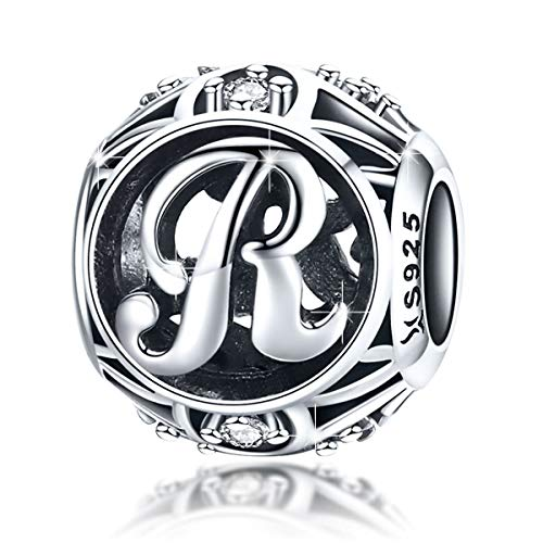 BAMOER 925 Sterling Silver Initial Letter R Charms for Bracelet Necklace Alphabet Beads (Heart Charm Letter Initial)