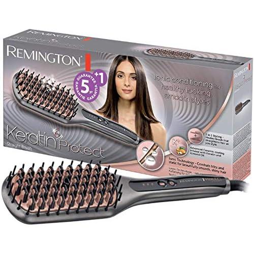 chollos oferta descuentos barato Remington Keratin Protect Straight CB7480 Cepillo alisador Cerdas de Cerámica Keratina y Aceite de Almendras Gris y Rosa
