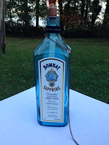 Bombay Sapphire Dry Gin Bottle Tiki Torch/Oil Lamp - One or Two - Outdoor Lighting - Garden Decor