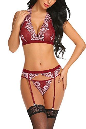 Avidlove Women Sexy Lingerie with Garter Belt Lace Babydoll Bodysuit Bralette Bra and Panty Sett Dark Red ()
