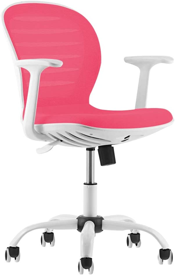 Mid Back Mesh Adjustable Home Office Task Chair with Armrest (Pink)