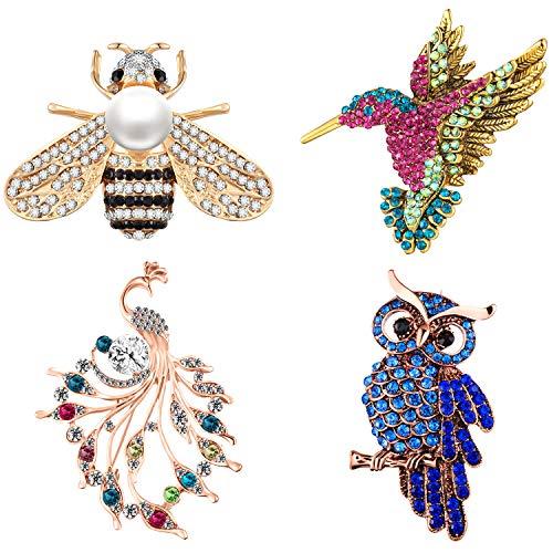 Geyoga 4 Pieces Women's Brooch Set Crystal Bee Hummingbird Owl Peacock Brooch Pin for Banquet Wedding Daily Supplies ()