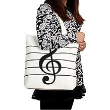 HOODDEAL Women's Girls' Music Symbols Print Canvas Tote Shopping Handbags Shoulder Bags (White)