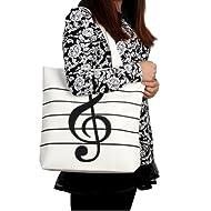 HOODDEAL Women's Girls' Music Symbols Print Canvas Tote Shopping Handbags Shoulder Bags,White
