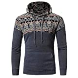 Danhjin Men Retro Style Long Sleeve Hoodie Hooded Sweatshirt Jacket Coat Outwear Pullover Casual Baseball Tops (Gray, L)