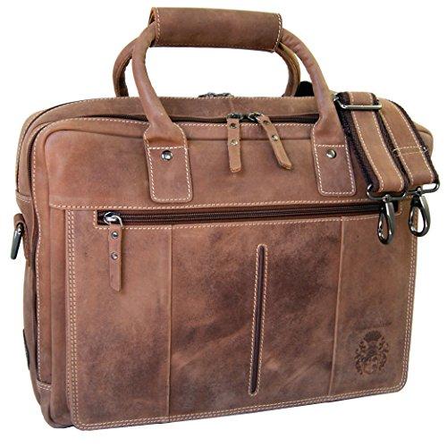 BARONE di MALTZAHN Borsa per portatile - Cartella CHAPLIN in pelle marrone