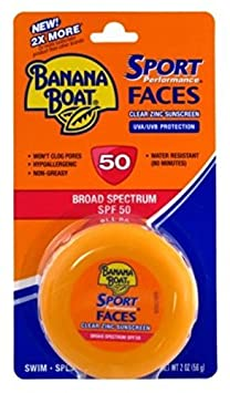 Banana Boat Spf50 Sport Faces 2 Ounce Jar Clear Zinc Sunscreen 59ml 2 Pack