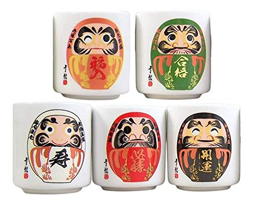 Japanese Ochoko Daruma Design Sake Cups, Set of 5 (Stoneware Cups Coffee Japan)