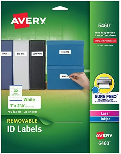 Avery Removable-Adhesive Rectangular Identification Labels For Laser and Inkjet