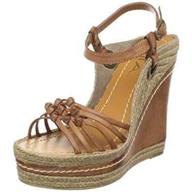 Amazon Com Mia Women S Biscotti Wedge Sandal Luggage 7