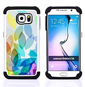 GIFT CHOICE / Defensor Cubierta de protección completa Flexible TPU Silicona + Duro PC Estuche protector Cáscara Funda Caso / Combo Case for Samsung Galaxy S6 SM-G920 // Apple Colorful Light Bright White //