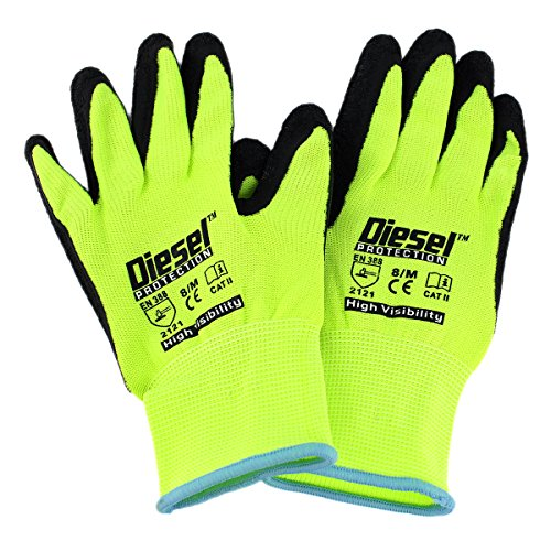 Price comparison product image 12 Pair Diesel Lime Safety Gloves Latex Coated Grip Cut Resistant