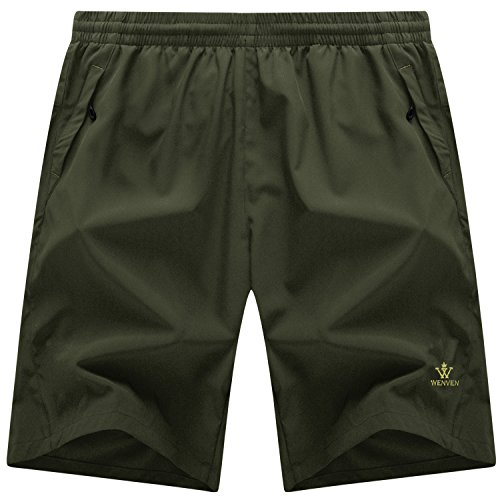 WenVen Men's Quick Dry Lightweight Sports Shorts with Zip Pockets(Army Green, Medium)