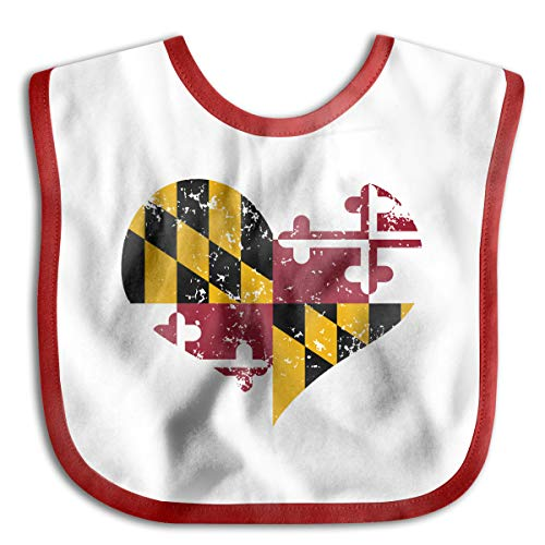 Heart Flag Bib - Maryland Heart Flag Baby Bibs Baby Toddler Waterproof Lunch Bibs | Easily Wipes Clean