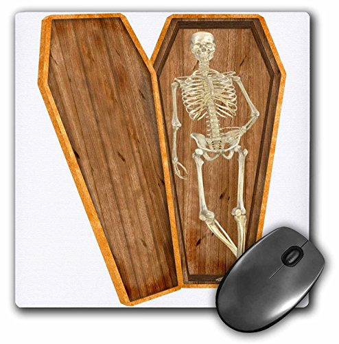 3dRose Blonde Designs Happy and Haunted Halloween - Halloween Casket Skeleton - MousePad (mp_131046_1) -
